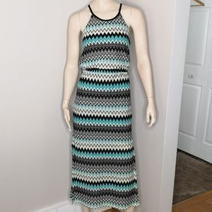 Bisou Bisou Halter Zig Zag Maxi Dress Size 4